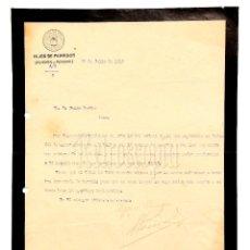 Facturas antiguas: FACTURA CARTA COMERCIAL BALNEARIO DE MONDARIZ HIJOS DE PEINADOR. LA CORUÑA 1919. Lote 124653955