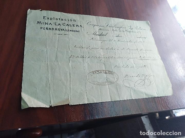 FACTURA PEÑARROYA PUEBLONUEVO CORDOBA MINA LA CALERA 1907 (Coleccionismo - Documentos - Facturas Antiguas)