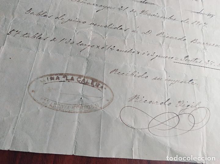 Facturas antiguas: factura peñarroya pueblonuevo Cordoba Mina La Calera 1907 - Foto 2 - 124853523