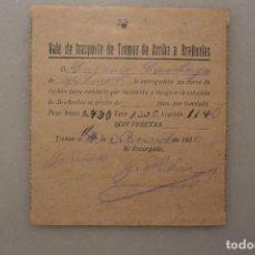 Facturas antiguas: VALE DE TRANSPORTE DE TEMOR DE ARRIBA A BRAÑUELAS. 11 NOVIEMBRE 1936. Lote 124975023