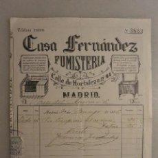 Facturas antiguas: FACTURA CASA FERNANDEZ FUMISTERIA CALLE HORTALEZA MADRID 1935. Lote 124975307