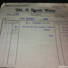 Facturas antiguas: FACTURA COMPRA DE SAL 1939,RECIEN TERMINADA GUERRA CIVIL. Lote 125324719
