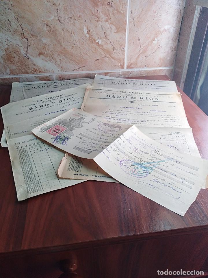 LOTE FACTURAS / LETRA LA CALA MALAGA LA SIRENA BARO RIOS CONSERVAS AÑOS 30 LEER (Coleccionismo - Documentos - Facturas Antiguas)