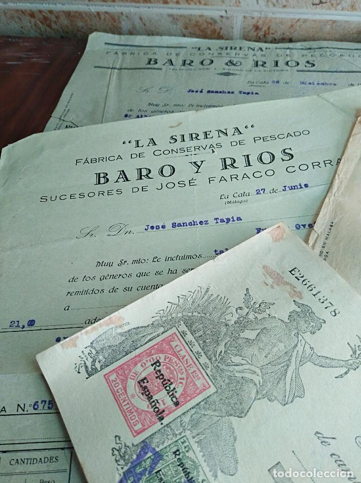 Facturas antiguas: lote facturas / letra la cala malaga la sirena baro rios conservas años 30 leer - Foto 2 - 125416483