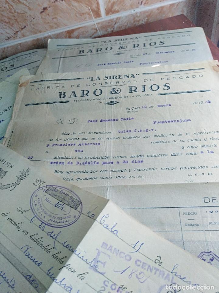 Facturas antiguas: lote facturas / letra la cala malaga la sirena baro rios conservas años 30 leer - Foto 3 - 125416483