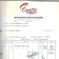 Facturas antiguas: FACTURA. ENYSA S.L. TEJIDOS Y CONFECCIONES DE PUNTO. IGUALADA, MURCIA. 1960. Lote 125873971