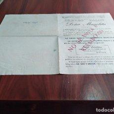 Facturas antiguas: ADMINISTRACION LOTERIA DOÑA MANOLITA MADRID SALUDOS CARTA DE PEDIDO AÑOS 50 . Lote 125939835