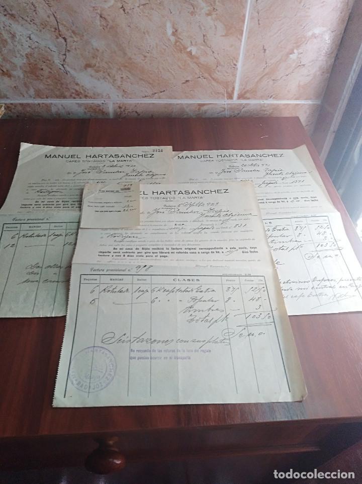 LOTE FACTURAS BADAJOZ CAFE LA MARTA MANUEL HARTASANCHEZ AÑOS 1929 - 30 (Coleccionismo - Documentos - Facturas Antiguas)