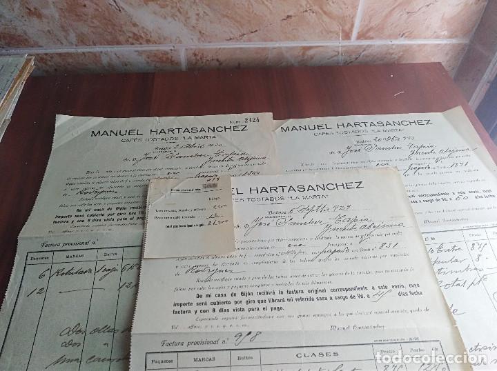 Facturas antiguas: Lote facturas badajoz cafe la marta manuel hartasanchez años 1929 - 30 - Foto 2 - 126269135