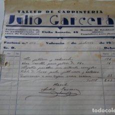 Facturas antiguas: VALENCIA. TALLER DE CARPINTERIA JULIO GARCERÁ. 1950.. Lote 126384751