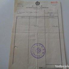 Facturas antiguas: VALENCIA. ULTRAMARINOS Y CONSERVAS C.I.V.E.M., ALBARÁN 1963. Lote 126408583