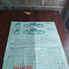 Facturas antiguas: LOTE 2 FACTURAS ELCHE ALICANTE SIMON ALEDO FABRICA DE ZAPATILLAS 1953 . Lote 126576431