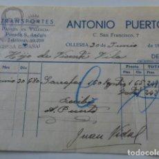 Facturas antiguas: OLLERÍA. VALENCIA. TRANSPORTES ANTONIO PUERTO. 1939. ARRIBA ESPAÑA.. Lote 126587071