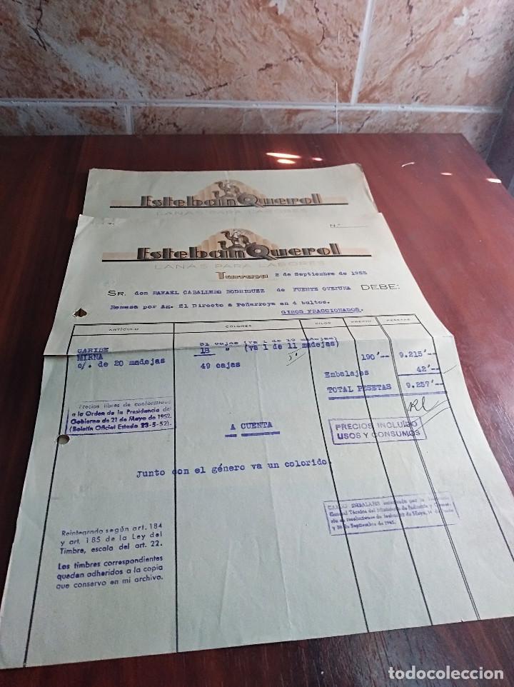 LOTE 2 FACTURAS TARRASA BARCELONA ESTEBAN QUEROL LANAS 1953 (Coleccionismo - Documentos - Facturas Antiguas)