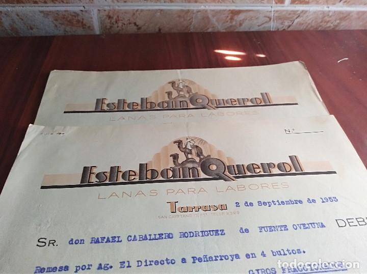 Facturas antiguas: lote 2 facturas tarrasa barcelona esteban querol lanas 1953 - Foto 2 - 126669727