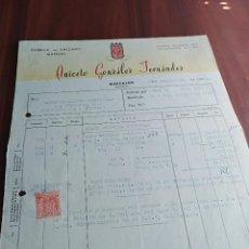 Facturas antiguas: FACTURA BINISALEM MALLORCA ANICETO GONZALEZ FABRICA DE CALZADO 1953 . Lote 126882211