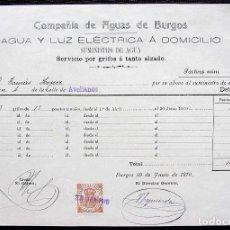 Facturas antiguas: BURGOS. ANTIGUA FACTURA. AÑO: 1910. BUEN ESTADO. COMPAÑÍA DE AGUAS DE BURGOS.. Lote 127808815