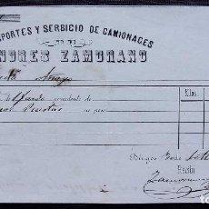 Facturas antiguas: BURGOS. ANTIGUA FACTURA. AÑO: 1873. TRANSPORTES Y SERBICIO DE CAMIONACES. ( ESCRITO ASÍ). MUY RARA.. Lote 127821915