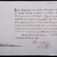Facturas antiguas: BURGOS. ANTIGUA FACTURA. AÑO: 1877.MAYORDOMO DEL CABILDO PARROQUIAL DE SAN LESMES.. Lote 127854939