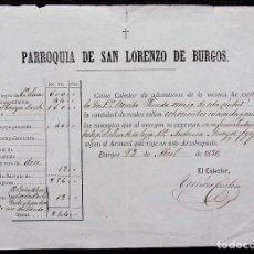 Facturas antiguas: BURGOS. ANTIGUA FACTURA. AÑO: 1880. PARROQUIA DE SAN LORENZO DE BURGOS. Lote 127861915