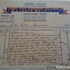 Facturas antiguas: BARCELONA. LA ELECTRA CATALONIA. SANTIAGO FONT. 1934. FACTURA.. Lote 129003995