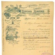 Facturas antiguas: FACTURA FÁBRICA DE BOTONES Y EFECTOS MILITARES LUCAS SAENZ. MADRID AÑO 1926. Lote 129460343