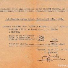 Facturas antiguas: 1949 (VALENCIA). FACTURA ASOCIACION DE LA PILA BAUTISMAL DE SAN VICENTE FERRER. Lote 129542139