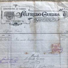 Fatture antiche: FACTURA DE ALFREDO GUERRA - CONSTRUCTOR DE CARROS - SANTANDER - AÑO 1922. Lote 130182551