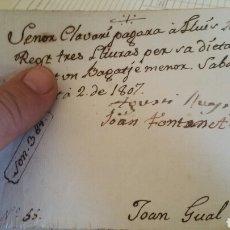 Facturas antiguas: DOCUMENTO O RECIBO DE PAGO AÑO 1807 SABADELL. Lote 130537971
