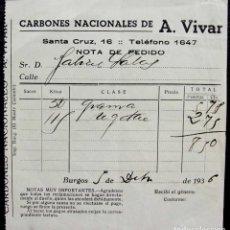 Facturas antiguas: BURGOS. ANTIGUA FACTURA. AÑO: 1936. CARBONES NACIONALES.. Lote 131524946