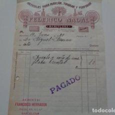 Facturas antiguas: BARCELONA. FEDERICO NADAL. ARTICULOS PARA MARCAR. BONITA FACTURA 1929. REVERSO PUBLICITARIO. Lote 132391474