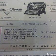 Facturas antiguas: MÁQUINAS DE ESCRIBIR HISPANO-OLIVETTI. FACTURA Y RECIBO CASA MASCORT. GERONA 1951. Lote 132393262