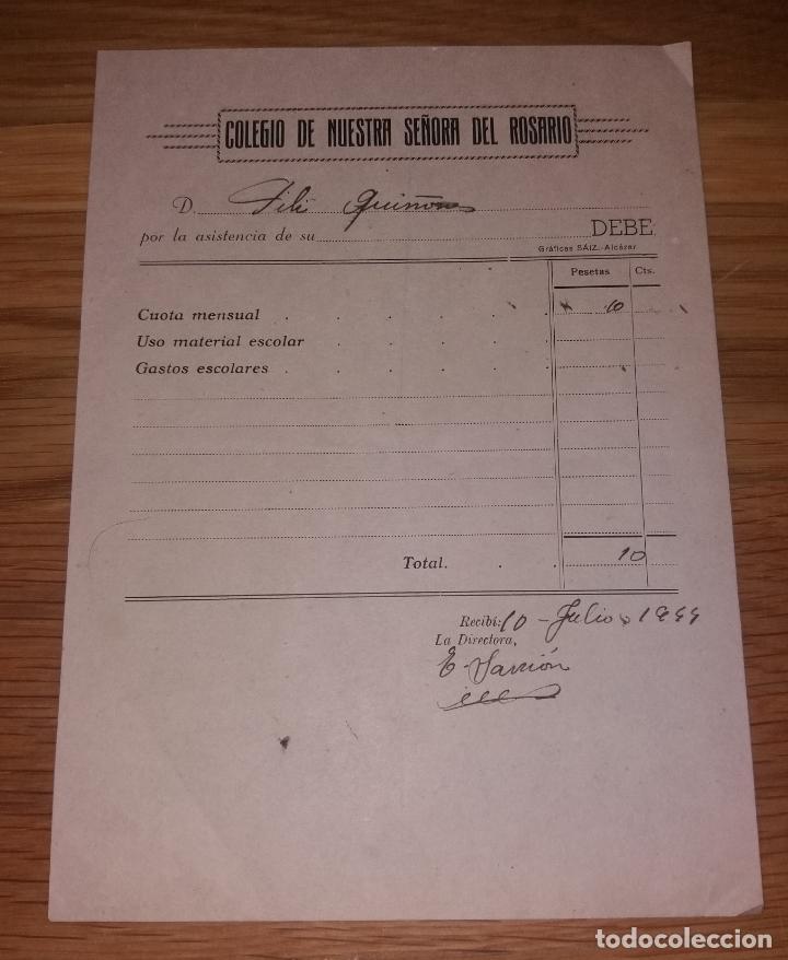 PAPEL ANTIGUO. COLEGIO NUESTRA SEÑORA DEL ROSARIO. 1944, RECIBO O FACTURA, GRÁFICAS SAIZ (Coleccionismo - Documentos - Facturas Antiguas)