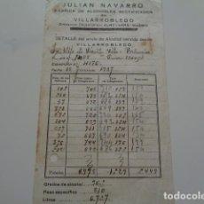 Facturas antiguas: VILLARROBLEDO. ALBACETE. GUERRA CIVIL. 1937. JULIAN NAVARRO, FABRICA DE ALCOHOLES. FACTURA. Lote 132775510