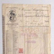 Facturas antiguas: MÁQUINA DE COSER SINGER, DOCUMENTO, FACTURA DE 1907. Lote 26709983