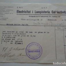 Facturas antiguas: MOLINS DE LLOBREGAT. BARCELONA. 1936. GUERRA CIVIL. CNT UHP. UGT, FACTURA ELECTRICITAD COLECTIVIZADA. Lote 133925694