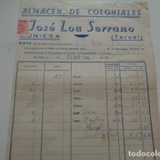 Facturas antiguas: MUNIESA. TERUEL. JOSE LOU SERRANO. ALMACEN DE COLONIALES. FACTURA. 1946.. Lote 134311598