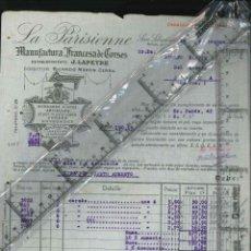 Fatture antiche: FACTURA ANTIGUA DE SAN SEBASTIAN LA PARISIENNE MANUFACTURAS 1917. Lote 134487358