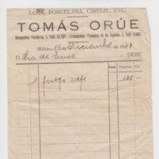 Facturas antiguas: FACTURA 1947 TOMÁS ORÚE - LOZA, PORCELANA, CRISTAL, ETC.. Lote 134806998