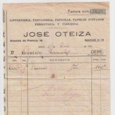 Facturas antiguas: FACTURA JOSÉ OTEIZA LINTERNERIA, FONTANERÍA, PINTURAS, PAPELES PINTADOS, FERRETERÍA Y VIDRIERA 192. Lote 134807018