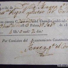 Facturas antiguas: FACTURA RECIBO 1814 - MIGUEL FERRER A ANA RIPOLL COMISION DEL AYUNTAMIENTO - PALMA DE MALLORCA. Lote 135145538