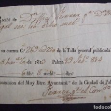 Facturas antiguas: FACTURA RECIBO 1814 GRAN - MIGUEL FERRER A ANA RIPOLL COMISION DEL AYUNTAMIENTO - PALMA DE MALLORCA. Lote 135149662