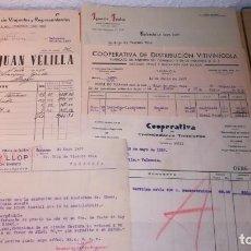 Facturas antiguas: LOTE FACTURAS ANTIGUAS, VALENCIA, ALCOY, AÑO 1937.EPOCA GUERRA CIVIL. Lote 135359094