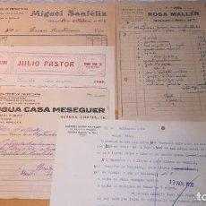 Facturas antiguas: LOTE FACTURAS ANTIGUAS, VALENCIA,TERUEL, ALCOY, AÑO 1936.EPOCA GUERRA CIVIL. Lote 135359450