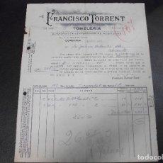 Factures anciennes: FACTURA DE CORDOBA TONELERIA ACEITUNAS DE FRANCISCO TORRENT A ALICANTE 1941. Lote 136053890