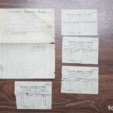 Facturas antiguas: FACTURA 1928 DE CERVEZA DAMM Y SUS 4 ALBARANES CORRESPONDIENTES DE SOCIEDAD ANONIMA DAMM DE 1928. Lote 136464954