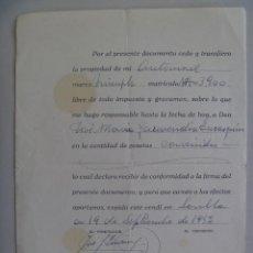 Facturas antiguas: FACTURA POR LA COMPRA DE AUTOMOVIL MARCA TRIUNPH MATRICULA DE NAVARRA . SEVILLA, 1952. Lote 137179918
