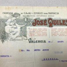 Facturas antiguas: FARMACIA. FÁBRICA ENVASES JOSÉ QUILES. 1922.. Lote 137227134