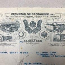 Facturas antiguas: CERVEZAS DE SANTANDER. 1922.. Lote 137227670