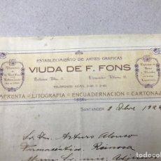 Facturas antiguas: VIUDA DE FONS, SANTANDER. ARTES GRÁFICAS, IMPRENTA, LITOGRAFIA. 1922. Lote 137228158